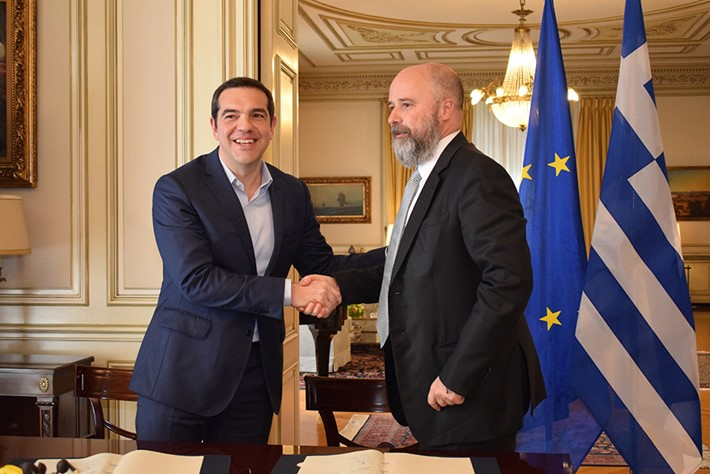 (left) Andreas Dracopoulos, SNF Co-President, (right) Alexis Tsipras, Greek Prime Minister -  Source: Marilena Katsini