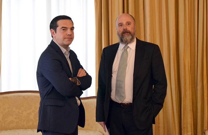 Alexis Tsipras, Greek Prime Minister, (right) Andreas Dracopoulos, SNF Co-President  - Source: Marilena Katsini