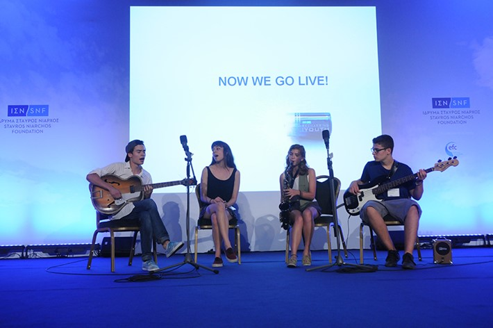 The young members of a Schoolwave band sing live - Source: Marilena Katsini