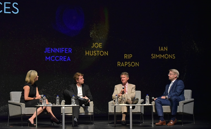 Jennifer McCrea, Senior Research Fellow, Hauser Institute for Civil Society, Harvard University, Joe Huston, Chief Financial Officer, GiveDirectly, Rip Rapson, President, the Kresge Foundation, Ian Simmons, Co-founder & Principal, Blue Haven Initiative/Source: Marilena Katsini