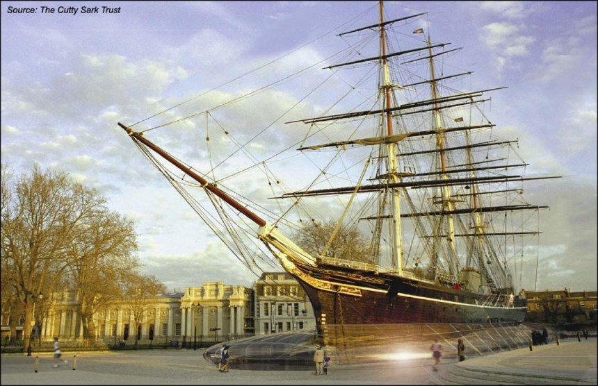 Cutty Sark in Cutty Sark Gardens upon completion of the project (2010)