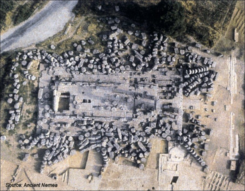 Aerial photo of the temple of Zeus at Nemea on July 1977