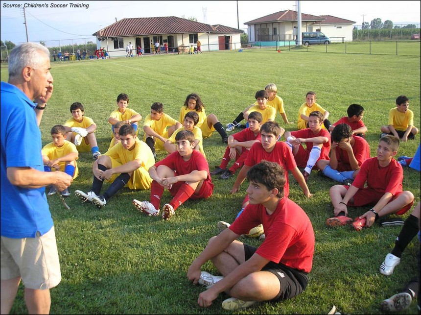 Mr. Papaioannou talks to the children, Soccer tournament 2008