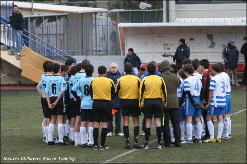 Mr. Papaioannou talks to the children, Christmas Soccer Tournament Academy 2008