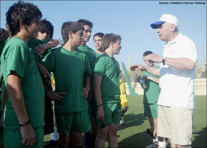 Mr. Papaioannou talks to the children, Soccer tournament 2007