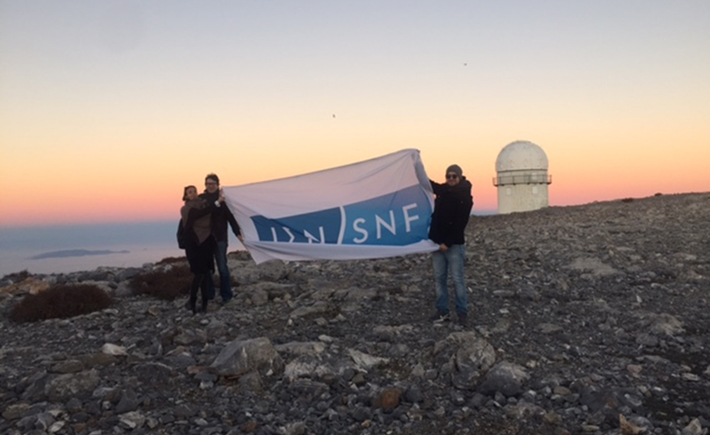Filming at Skinakas Observatory, at the peak of Mount Psiloritis, at an altitude of 5,740 ft. Source: SNF