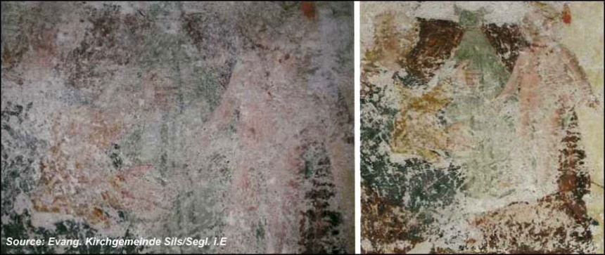 A fresco before and after the maintenance