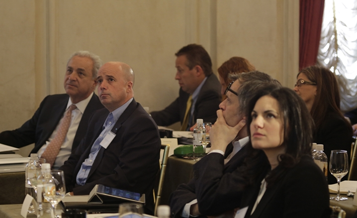 Olga Kefalogianni, Minister of Tourism of the Hellenic Republic, Ilias Tsaousakis, Greek Ministry of Tourism, Andreas Dracopoulos, SNF Co-President, Vassilis Kaskarelis, SNF Senior Advisor to the Board -Source: Alexandros Lambrovassilis