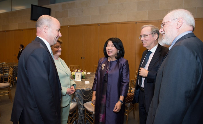 Andreas Dracopoulos, Co-President of the SNF,  Anne Krueger, Senior Research Professor of International Economics at Johns Hopkins School of Advanced International Studies, Mari Elka Pangestu, Minister of Tourism and Creative Economy for the Republic of Indonesia, Fred Bergsten, Senior Fellow and Director Emeritus at the PIIE, Jeffrey Schott, Senior Fellow at the PIIE  - Source: Kaveh Sardari