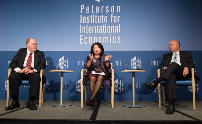 Adam Posen, President of the PIIE, Mari Elka Pangestu, Minister of Tourism and Creative Economy for the Republic of Indonesia, Andreas Dracopoulos, Co-President of the SNF - Source: Kaveh Sardari