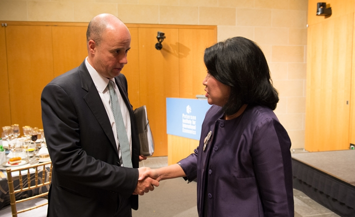 Andreas Dracopoulos, Co-President of the SNF, Mari Elka Pangestu, Minister of Tourism and Creative Economy for the Republic of Indonesia - Source: Kaveh Sardari