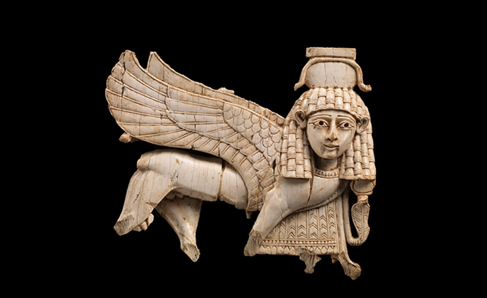 Openwork ivory plaque with striding sphinx, from Nimrud, Assyria.  The Metropolitan Museum of Art, Rogers Fund