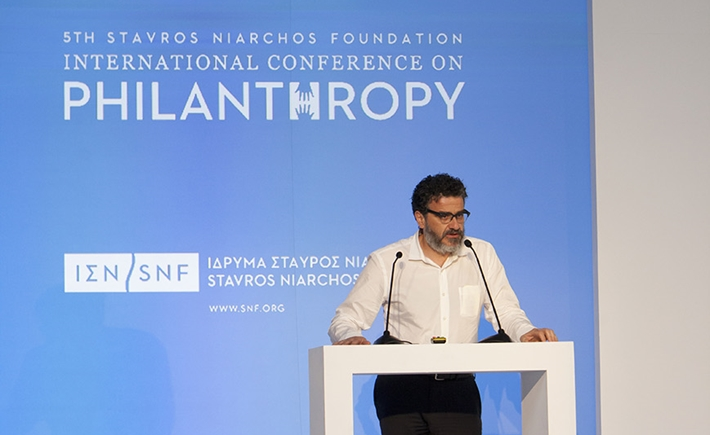 SNF Director of Programs and Strategic Initiatives, Stelios Vasilakis, delivers closing remarks for the conference
