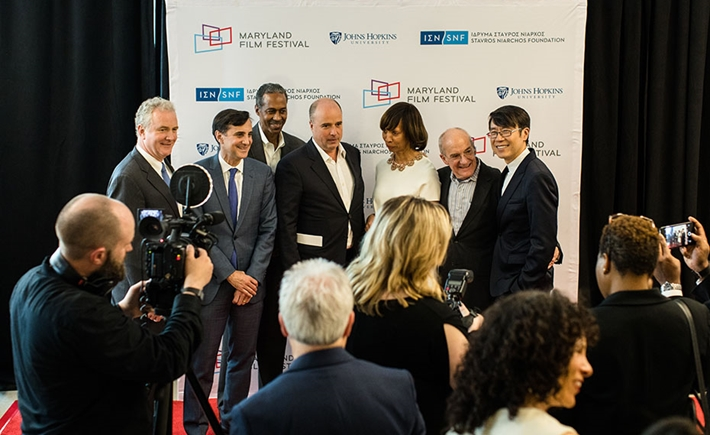 Chris Van Hollen, US Senator for Maryland; Ron Daniels, President of JHU; Robert Stokes Sr., Baltimore City Councilman; Andreas Dracopoulos, Co-President of the SNF; Catherine Pugh, Mayor of Baltimore; Jed Dietz, Director of the MdFF; Samuel Hoi, President of MICA Source: Chelsea Clough