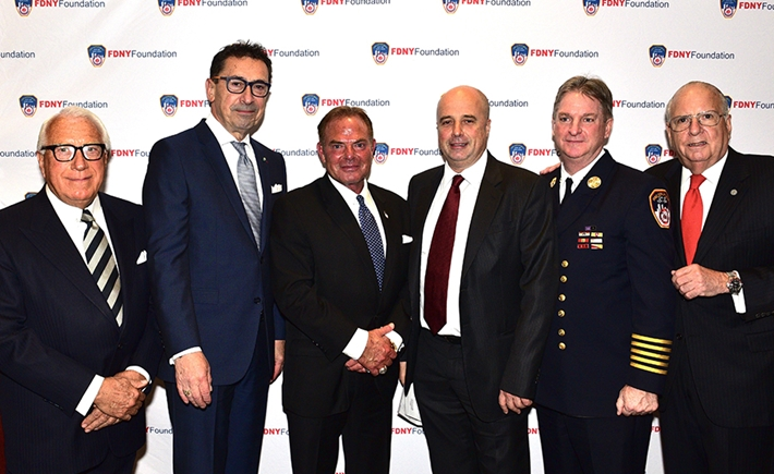 Joseph P. Coppotelli, FDNY Foundation Board Member; Daniel A. Nigro, Fire Commissioner; Steven Fisher, Fisher Capital Investments ; Andreas Dracopoulos, Co-President, SNF; James E. Leonard, Chief of Department; Stephen L. Ruzow, Chairman, FDNY Foundation Board